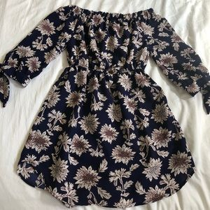 Off the shoulder floral mini dress